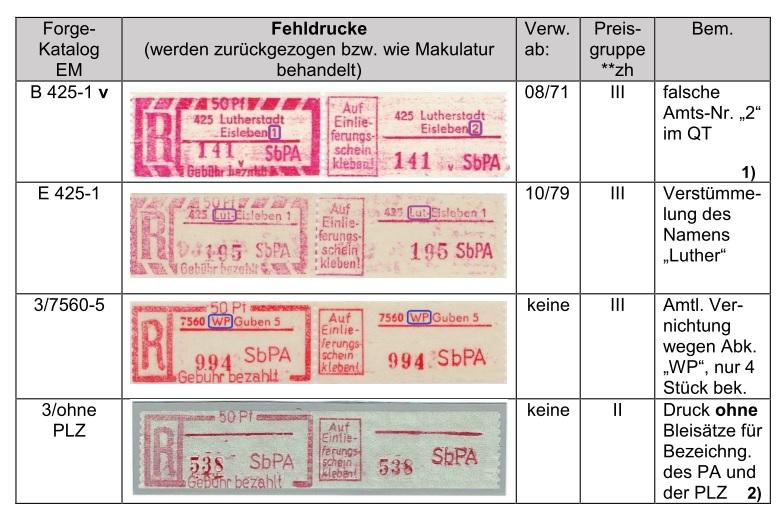 DDR Fehldruck Druckfehler SbPA Gebührenzettel